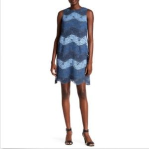NWT London Times Floral Lace Dress Blue Size 16